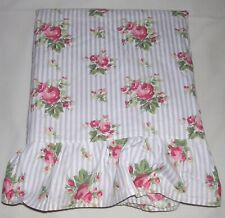 004O Ralph Lauren EMMA Full Double FLAT SHEET Blue Stripe with ROSES EUC