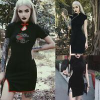 Women's Vintage Gothic Punk Chinese Cheongsam Harajuku Bodycon Split Dresses
