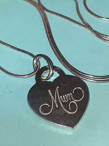 "Tiffany & Co. RARE Sterling Silver MUM Heart Tag Pendant Charm 18"" Chain"