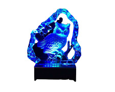 Owl on Tree Branch Crystal Etched Iceberg With Led Light Base
