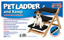 2 IN 1  DOG / CAT / PET LADDER AND RAMP / FOLDING WOODEN STAIRS TURNS INTO RAMP