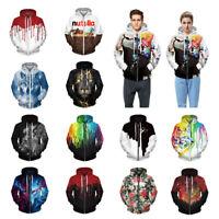 Men Womens Zip Up Hooded Couples 3D Graphic Print Hoodie Sweatshirts Jacket Coat