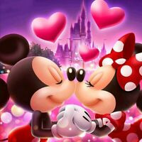 DIY DIAMOND ART CROSS-STITCH MICKEY MINNIE MOUSE KISSING ADULT CHILD ACTIVITY