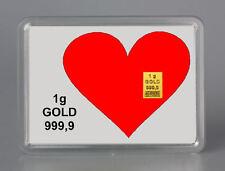 1g GOLD 999,9 + ZERTIFIKAT ► 1 GRAMM FEINGOLDBARREN ► Herz Liebe Love Geschenk