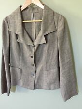 Tailored woman's light brown linen jacket, made in Italy, size 44 Aust 12 NEW