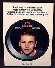 ROD GILBERT 1968-69 O-Pee-Chee PUCK Stickers #9  RARE Vintage NY RANGERS L1