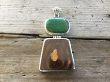 """Australian Boulder Opal & Turquoise 925 Silver Pendant ~ """"Stone Of Truth"""""""