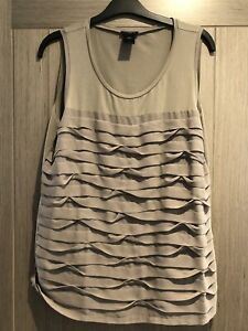 LADIES ANN TAYLOR SLEEVELESS TOP SIZE LARGE BROWN LOOSE SUMMER TOP