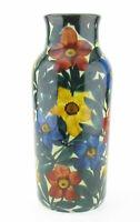 SMF Schramberg Majolika Keramik Vase Nr. 2555 Art Deco Blüten Blumen handgemalt