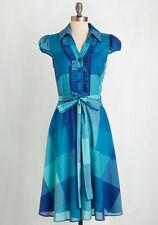 Yellow Star Blue Plaid Retro Vintage A-Line Shirt Dress Plus Size 2X Runs Small