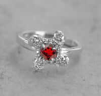Garnet 925 Sterling Silver Ring Red Natural Gemstone Size 4-11
