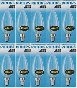10 x Philips Glühbirne 40W E14 KLAR Glühlampe 40 Watt Glühbirnen Kerze