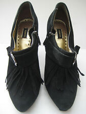 MIMCO GINSBERG SHOOTIE BLACK PLATFORM HEEL Sz 38 SUEDE LEATHER ANKLE SHOE / BOOT