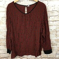 Old Navy pullover blouse shirt top womens 2XL red black geometric keyhole XXL M9