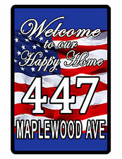 Personalized USA Sign with YOUR STREET ADDRESS ALUMINUM GLOSSY NO RUST USA PD474