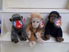 KW-84 3 monkey ape primate TY BEANIE BABY Congo Bongo Cheeks