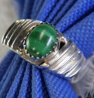 Men's Vintage Navajo MAX C Handcrafted Malachite Sterling Silver .925 Ring sz 7
