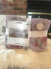 Simply Shabby Chic Twin Linen Cotton Blend Quilt Purple Berry Rose