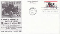MYSTIC STAMP FIRST DAY COVER - 1995 ANTIQUE AUTO 1894 HAYNES SCOTT #3020