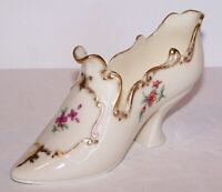 LOVELY VINTAGE LENOX PORCELAIN FLORAL & GOLD VICTORIAN HIGH HEEL SHOE/SLIPPER