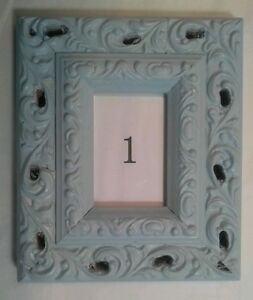 Wedding Table Framed Numbers 1-8 Gray Blue Fancy Scrolled Wood