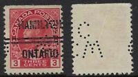 Canada Perfin C46-CW/C: Hamilton Precancel 4-109, 3c George V Admiral, Cat $75