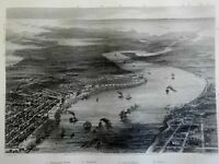 New Orleans Louisiana Mississippi 1863 Virtue Civil War birds-eye city view
