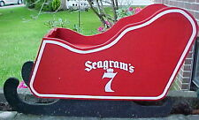 """RARE VINTAGE 1970'S HUGE 35"""" X 21"""" X 14"""" SEAGRAMS 7 CROWN WOODEN CHRISTMAS SLED"""
