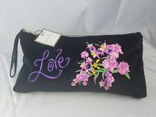 New Ellen Tracy Black/Floral Clutch Cosmetic Bag, Love