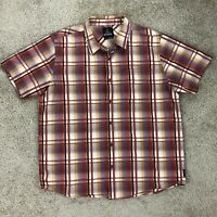 PrAna Mens Large Brown Orange Short Sleeve Button Down Outdoor Hiking Shirt