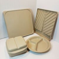 Vintage Anchor Hocking Microwave, Oven Safe 5 Piece Set Bacon Tray Casserole