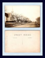 IOWA MOVILLE HANNA REAL PHOTO CHURCH ON MAIN STREET LOOKING WEST CIRCA 1912