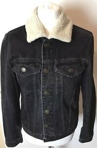 River Island Black Distressed Denim Jacket With Detachable Fur Hood Size Small