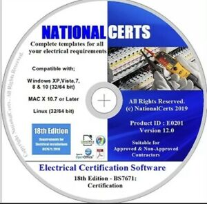 18TH EDITION ELECTRICAL CERTIFICATES DISC BS7671 GENUINE PRODUCT. ADD YOUR LOGO