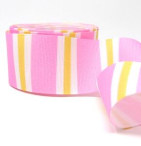 4 Yards 1.5 inch Pink Stripes Printed Ribbon - Grosgrain - Made in USA
