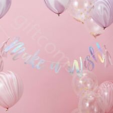 Iridescent Make a Wish Bunting Banner Girls Kids Unicorn Party Decoration - 1.5m