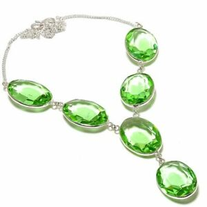 "Peridot Gemstone Handmade 925 Sterling Silver Jewelry Necklace 18"""