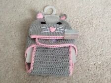 First Steps Stepping Stones Baby Crochet Hat Set -Pink/Grey Mouse 0-6months New