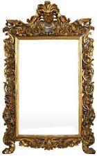 Grand miroir italien  de style rocaille en bois doré d'époque XIXème