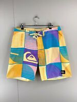 Quicksilver Men's Casual Beach Swimming Board Shorts Size 34 Yellow Pink