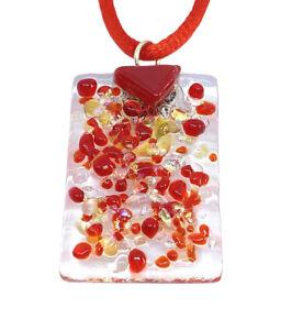 Handmade Glass Pendant Dichroic Glass Pendant Fused Glass Pendant 3cm x 2cm