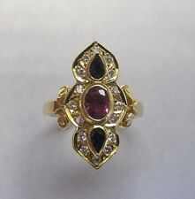 18kt Yellow Gold Diamond, Ruby, Topaz Cocktail ring