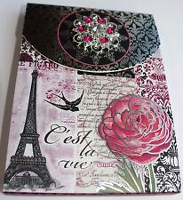 *PUNCH STUDIO Note Pad w/ Jeweled Brooch ~ PARIS~ Eiffel Tower~Floral ~ Magnetic