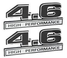 "4.6 Liter Engine High Performance Emblems Badge in Chrome & Black - 5"" Long Pair"