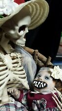 Skeleton Momma and Her Zombie Baby Girl Horror Doll Halloween Haunted House Prop