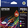 GENUINE Epson 702XL 3 Colour Value Pack Ink Cartridge WF-3720 WF-3725 T345592