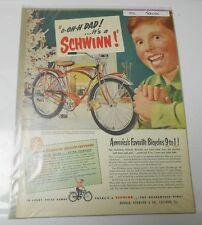 1951 SCHWINN PHANTOM Full Page Color Christmas Clipping 11x14 FN+