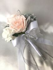 FLOWERGIRLS POSY, BABY PINK, WHITE & GREY ROSES,  ARTIFICIAL WEDDING FLOWERS
