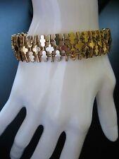 Vintage Crown Trifari Gold Tone Clover Link Bracelet