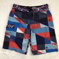 Hurley Phantom Mens 32 Blue Color Block Surf Stretch Board Shorts